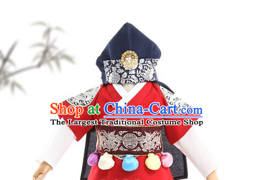 Asian Korea Boys Traditional Embroidered Red Vest and Pants Children Birthday Fashion Korean Apparels Hanbok Costumes