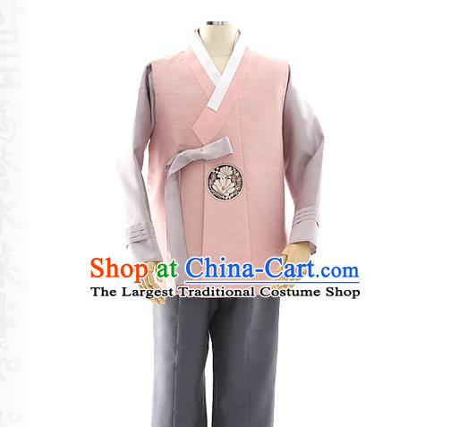 Asian Korea Pink Vest Shirt and Pants Dress Korean Bridegroom Fashion Traditional Apparels Hanbok Wedding Costumes