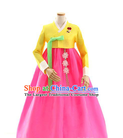 Korean Traditional Wedding Yellow Blouse and Rosy Dress Korea Fashion Bride Costumes Hanbok Apparels for Women