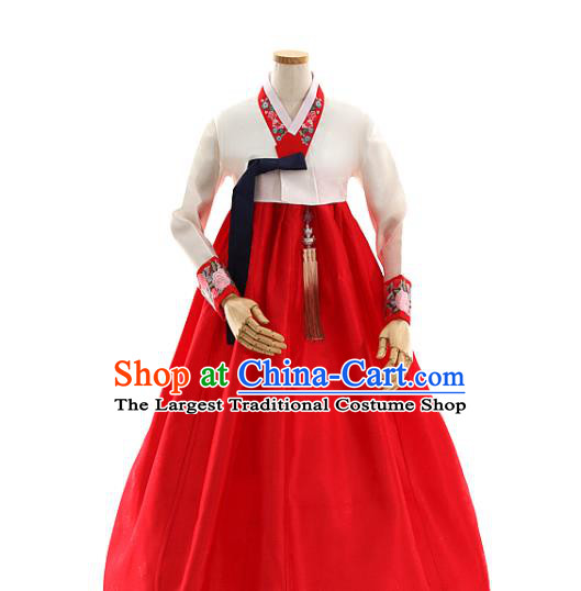 Korean Bride White Blouse and Red Dress Korea Fashion Costumes Traditional Wedding Hanbok Apparels for Women