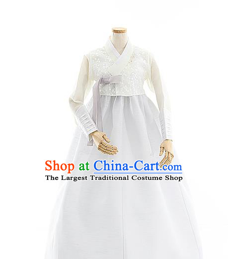Korean Bride White Lace Blouse and Dress Korea Fashion Costumes Traditional Wedding Hanbok Apparels for Women