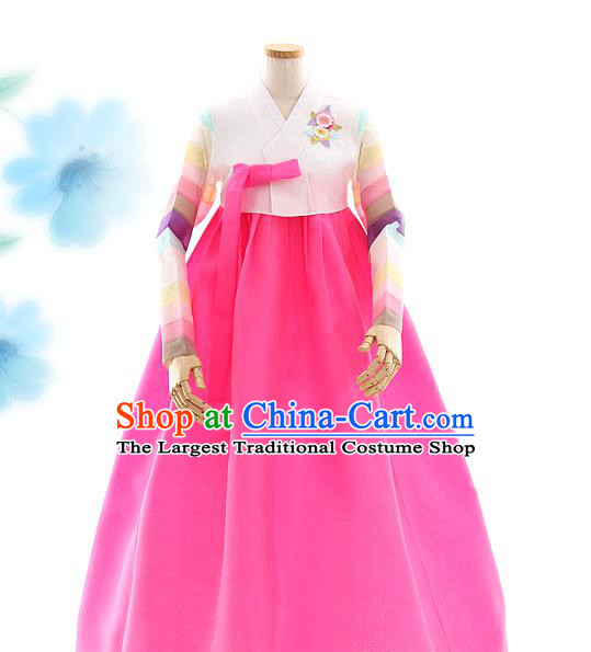 Korean Bride White Blouse and Rosy Dress Korea Fashion Costumes Traditional Festival Hanbok Apparels for Women