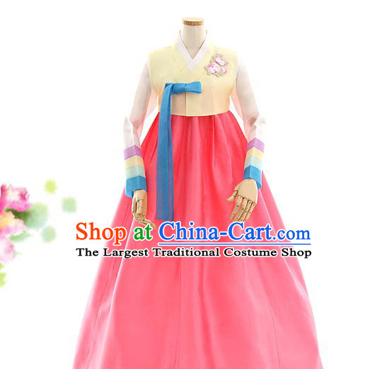 Korean Bride Hanbok Yellow Blouse and Pink Dress Korea Fashion Costumes Traditional Festival Apparels for Women