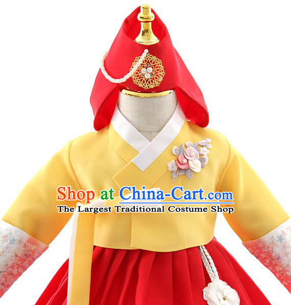 Asian Korea Girls Yellow Blouse and Red Dress Korean Kids Fashion Traditional Apparels Hanbok Birthday Costumes with Headwear