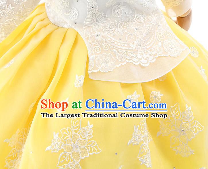 Asian Korea Girls Birthday White Blouse and Yellow Dress Korean Kids Fashion Traditional Apparels Hanbok Costumes