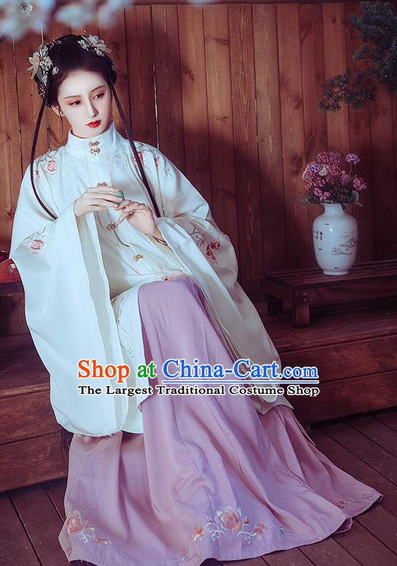 Chinese Ancient Ming Dynasty Princess Costumes Traditional Hanfu Apparels White Gown and Skirt for Women