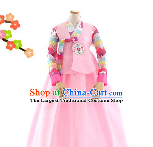 Korean Bride Hanbok Pink Blouse and Dress Korea Fashion Wedding Costumes Traditional Festival Apparels for Women