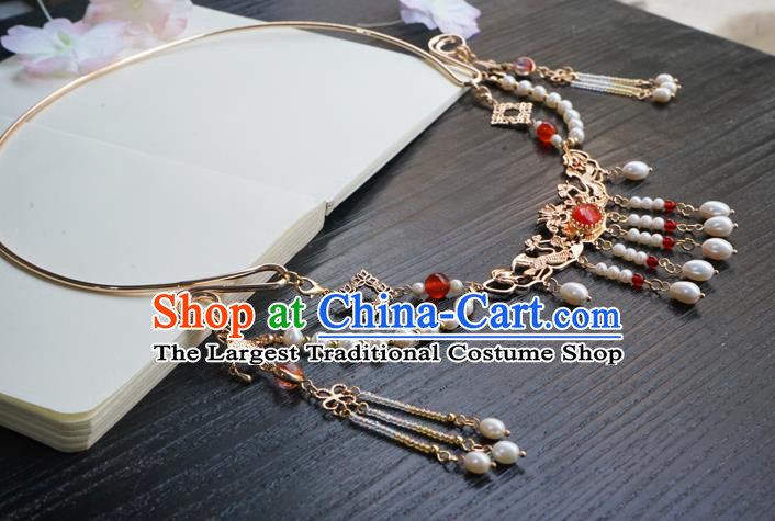 Chinese Handmade Hanfu Beads Tassel Necklace Classical Jewelry Accessories Ancient Princess Golden Necklet for Women