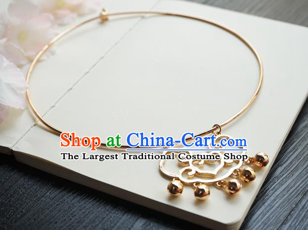 Chinese Handmade Hanfu Golden Cloud Necklace Classical Jewelry Accessories Ancient Princess Bells Tassel Necklet for Women