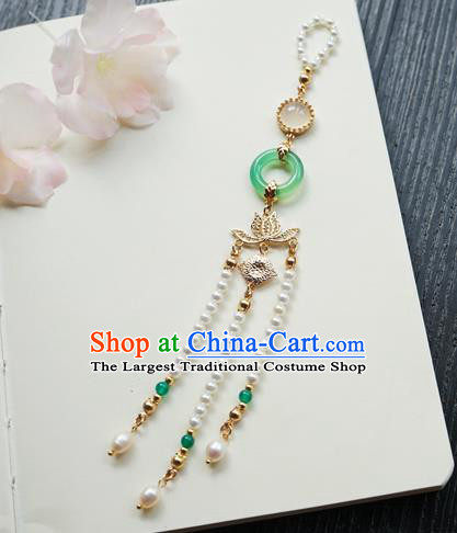 Chinese Classical Jewelry Accessories Ancient Hanfu Green Ring Brooch Golden Lotus Beads Tassel Pendant