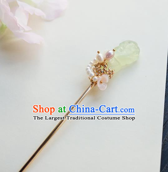 Chinese Classical Pearls Hair Clip Hair Accessories Handmade Ancient Hanfu Chalcedony Hairpin for Women