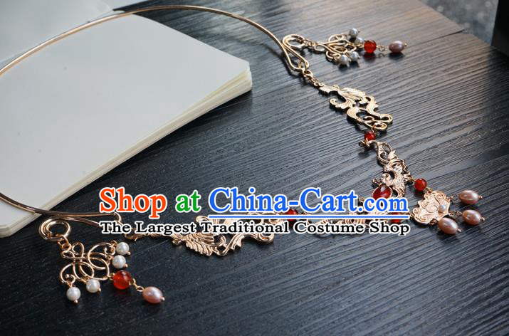 Chinese Handmade Golden Longevity Lock Hanfu Pearl Necklace Classical Jewelry Accessories Ancient Princess Necklet for Women