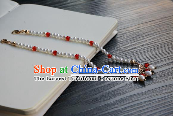Chinese Handmade Hanfu Pearl Necklace Classical Jewelry Accessories Ancient Princess Beads Necklet for Women