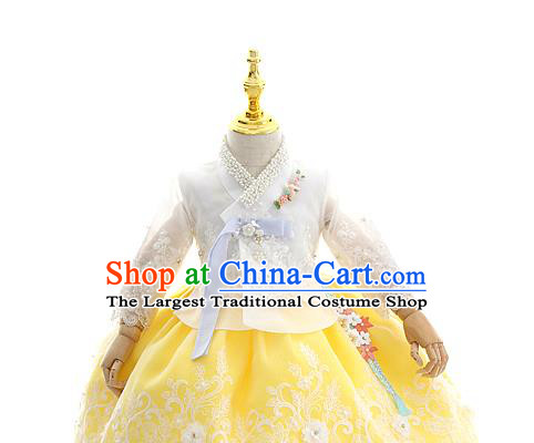 Asian Korea Court Girls White Lace Blouse and Dress Korean Kids Birthday Fashion Traditional Hanbok Apparels Costumes