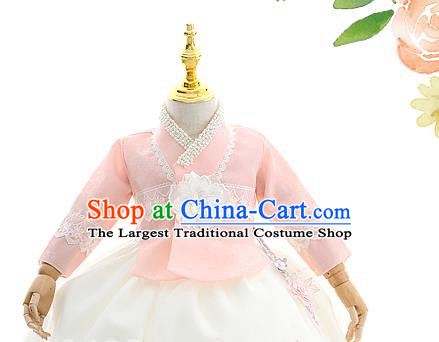 Asian Korea Court Girls Pink Blouse and White Dress Korean Kids Birthday Fashion Traditional Hanbok Apparels Costumes