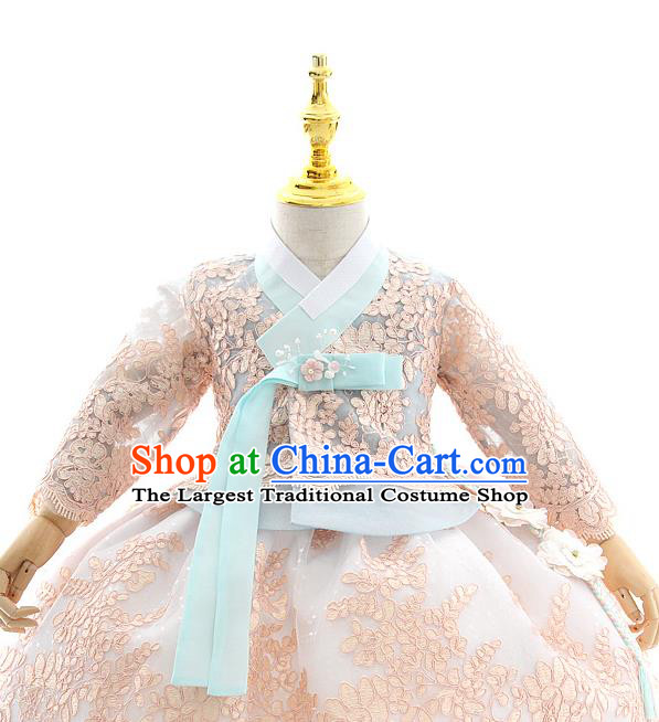 Asian Korea Court Girls Blue Lace Blouse and Dress Korean Kids Birthday Fashion Traditional Hanbok Apparels Costumes
