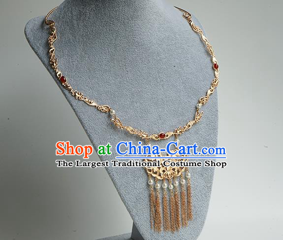Chinese Handmade Hanfu Ming Dynasty Necklace Classical Jewelry Accessories Ancient Princess Golden Tassel Necklet for Women