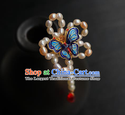 Chinese Classical Hanfu Pearls Hair Accessories Handmade Ancient Princess Blueing Butterfly Hairpin for Women