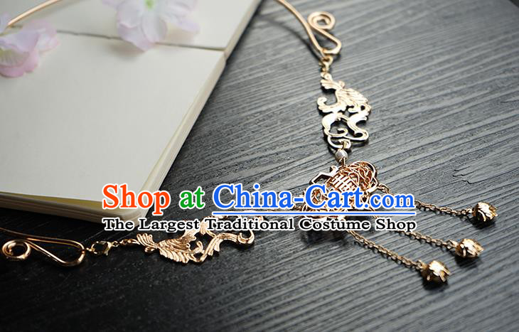 Chinese Handmade Hanfu Golden Tassel Necklace Classical Jewelry Accessories Ancient Princess Longevity Lock Necklet for Women