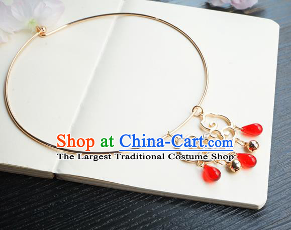 Chinese Handmade Hanfu Necklace Classical Jewelry Accessories Ancient Bride Golden Necklet for Women
