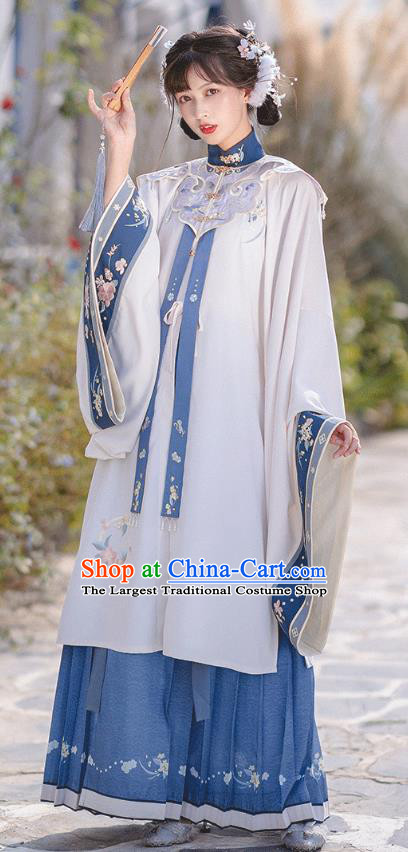 Ancient Chinese Royal Princess Embroidered Gown with Collar and Skirt Traditional Ming Dynasty Costumes Hanfu Apparels