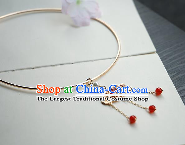Chinese Handmade Hanfu Red Beads Tassel Necklace Classical Jewelry Accessories Ancient Princess Golden Necklet for Women