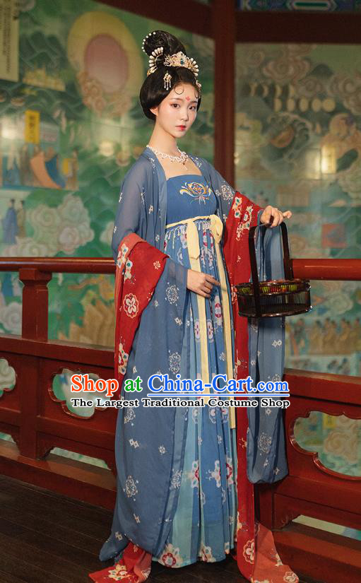 Chinese Tang Dynasty Imperial Concubine Costumes Ancient Court Woman Blue Cape and Dress Traditional Hanfu Apparels