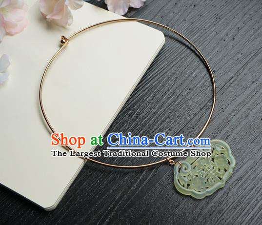 Chinese Handmade Hanfu Jade Pendant Necklace Classical Jewelry Accessories Ancient Princess Necklet for Women