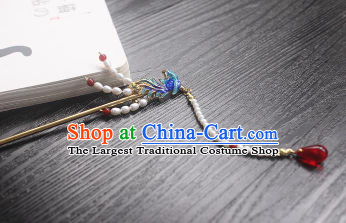 Chinese Classical Cloisonne Phoenix Hair Clip Hair Accessories Handmade Ancient Hanfu Pearls Tassel Hairpin for Women