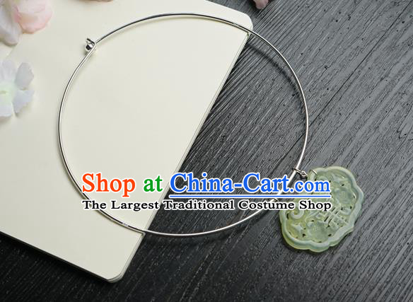 Chinese Handmade Hanfu Jade Pendant Necklace Classical Jewelry Accessories Ancient Princess Argent Necklet for Women