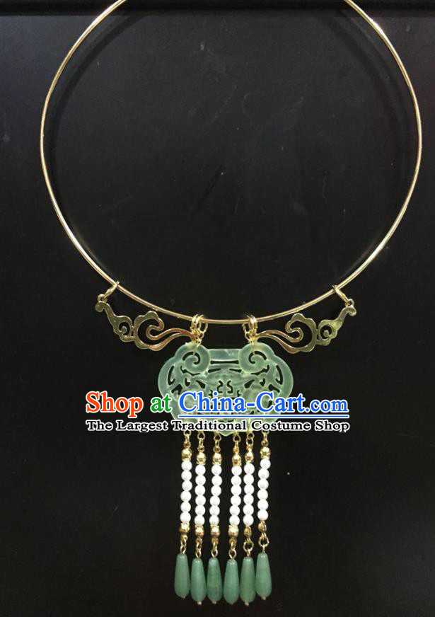 Chinese Handmade Hanfu Ming Dynasty Jade Necklace Classical Jewelry Accessories Ancient Princess Beads Tassel Necklet for Women