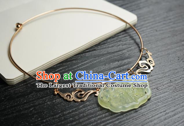 Chinese Handmade Hanfu Ming Dynasty Necklace Classical Jewelry Accessories Ancient Princess Jade Necklet for Women