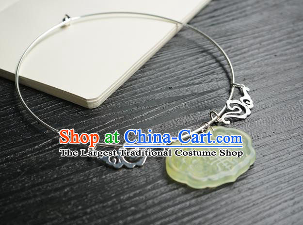 Chinese Handmade Hanfu Ming Dynasty Argent Necklace Classical Jewelry Accessories Ancient Princess Jade Necklet for Women
