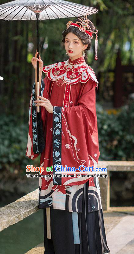 Chinese Ming Dynasty Royal Countess Historical Costumes Traditional Hanfu Apparels Ancient Noble Woman Red Gown and Skirt Full Set