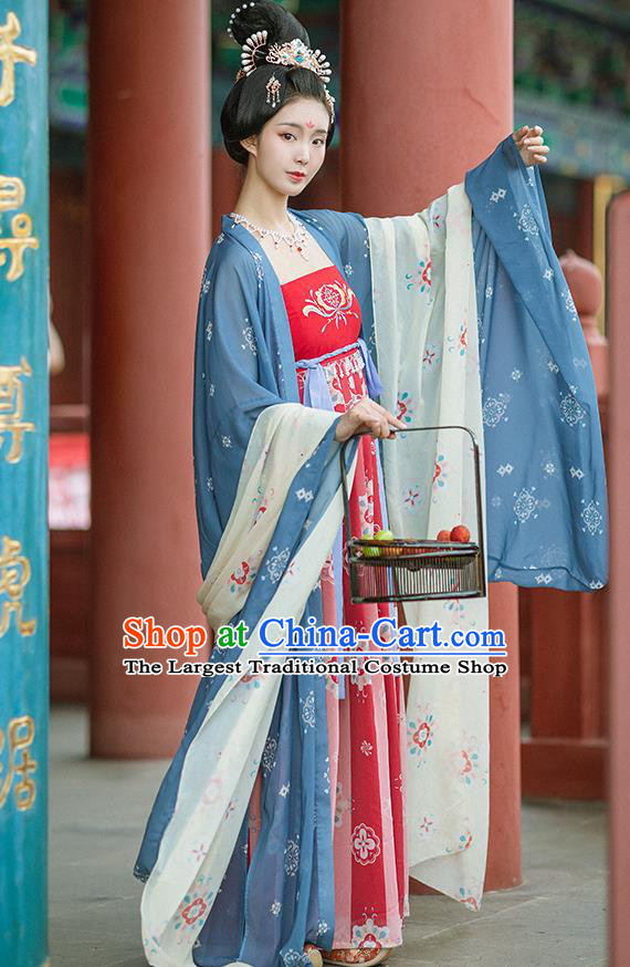 Chinese Ancient Imperial Consort Blue Wide Sleeve Cloak and Red Dress Traditional Hanfu Apparels Tang Dynasty Court Women Historical Costumes