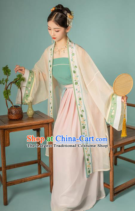Chinese Ancient Country Lady BeiZi Top and Skirt Traditional Song Dynasty Historical Costumes Hanfu Apparels