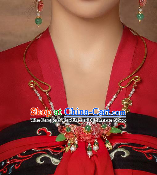 Chinese Handmade Hanfu Red Flowers Necklet Classical Jewelry Accessories Necklace for Women