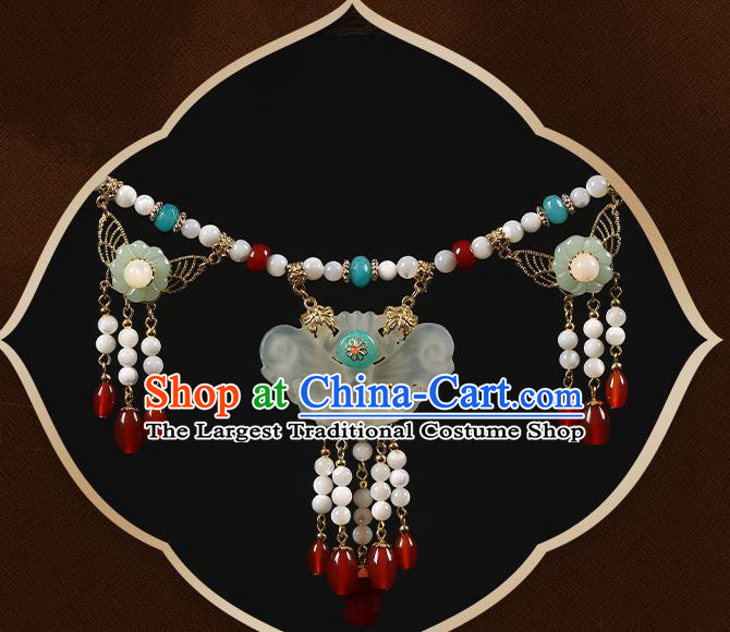 Chinese Handmade Hanfu Jade Butterfly Necklace Classical Jewelry Accessories Red Beads Tassel Necklet for Women