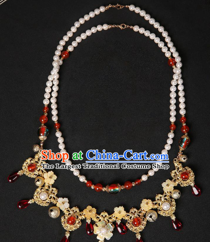 Chinese Handmade Pearls Necklet Classical Jewelry Accessories Hanfu Golden Necklace for Women