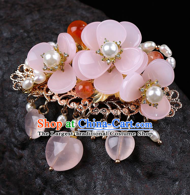Chinese Classical Pink Flower Hair Claw Hanfu Hair Accessories Handmade Ancient Princess Pearls Hairpins for Women