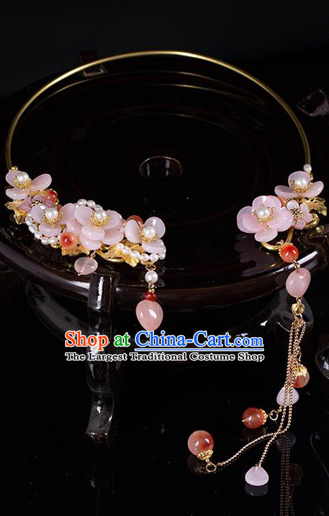 Chinese Handmade Pearls Necklet Classical Jewelry Accessories Ancient Hanfu Pink Flower Necklace for Women