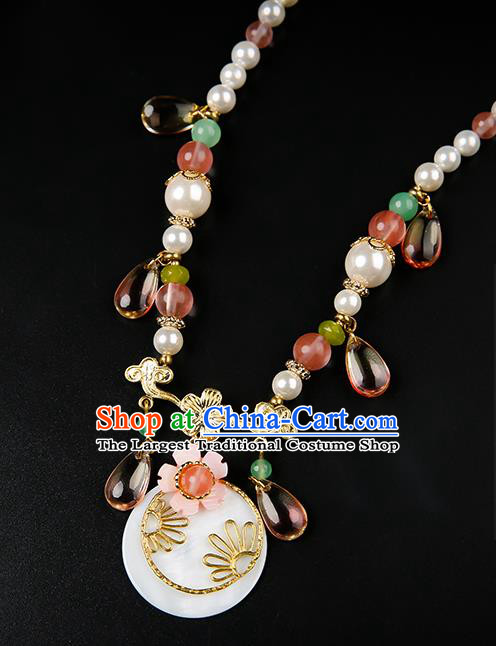 Chinese Handmade Pearls Necklet Classical Jewelry Accessories Ancient Hanfu Necklace for Women