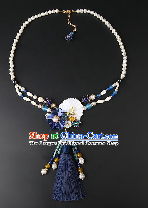Chinese Handmade Navy Tassel Necklet Classical Jewelry Accessories Ancient Hanfu Pearls Necklace for Women