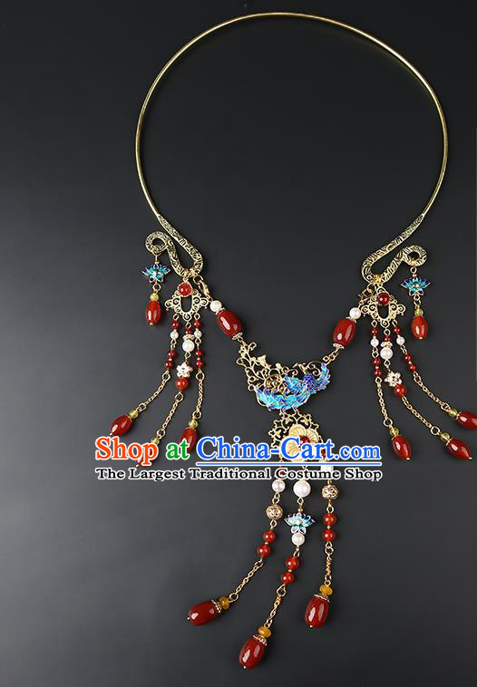 Chinese Handmade Ming Dynasty Necklet Classical Jewelry Accessories Ancient Hanfu Agate Beads Tassel Necklace for Women