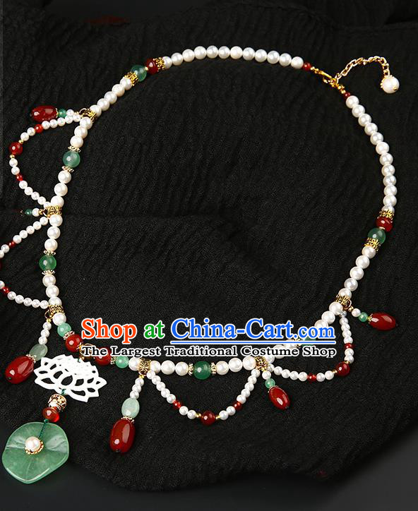 Chinese Handmade Ming Dynasty Lotus Leaf Necklet Classical Jewelry Accessories Ancient Hanfu Pearls Necklace for Women