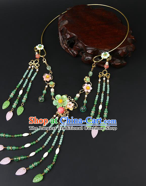 Chinese Handmade Ming Dynasty Green Beads Necklet Classical Jewelry Accessories Ancient Hanfu Tassel Necklace for Women