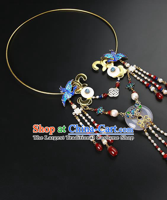 Chinese Handmade Ming Dynasty Pearls Tassel Necklet Classical Jewelry Accessories Ancient Hanfu Blueing Necklace for Women