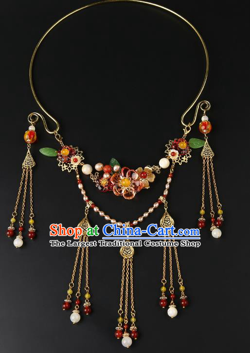Chinese Handmade Ming Dynasty Golden Tassel Necklet Classical Jewelry Accessories Ancient Hanfu Flowers Necklace for Women
