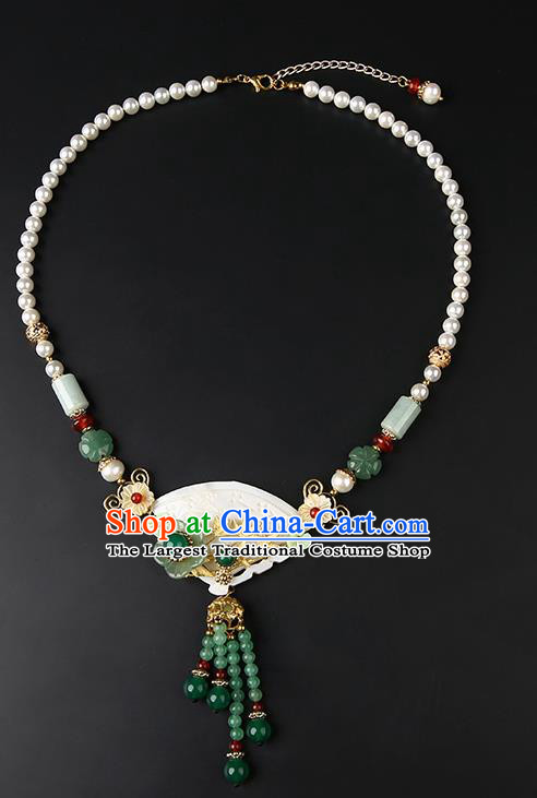Chinese Handmade Song Dynasty Shell Necklet Classical Jewelry Accessories Ancient Hanfu Jade Tassel Necklace for Women