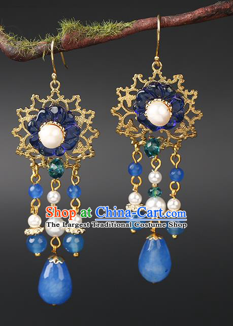 Handmade Chinese Plum Blossom Ear Accessories Classical Eardrop Ancient Women Hanfu Blue Beads Tassel Earrings